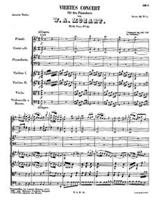 Концерт для фортепиано с оркестром No.4 соль мажор, K.41: Партитура by Вольфганг Амадей Моцарт