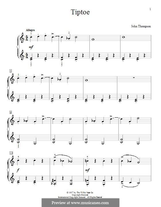 Tiptoe: Для фортепиано by John Thompson
