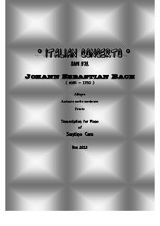 Итальянский концерт, BWV 971: Транскрипция для фортепиано by Иоганн Себастьян Бах