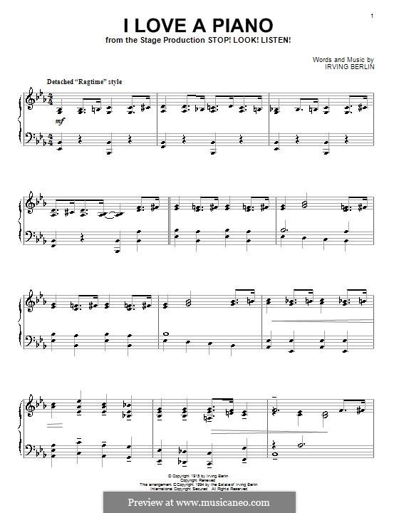 I Love a Piano: Для фортепиано by Ирвинг Берлин