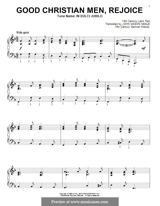 Good Christian Men, Rejoice: Для фортепиано by folklore