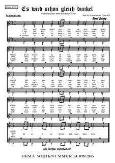 Weihnachtliches. Es wird schon gleich dunkel (FCH), Op.403: Weihnachtliches. Es wird schon gleich dunkel (FCH) by folklore