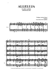 Exsultate, jubilate, K.165: Alleluia, per coro SATB e organo by Вольфганг Амадей Моцарт