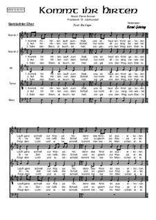 Kommt ihr Hirten: For mixed choir, Op.401 by Unknown (works before 1850)