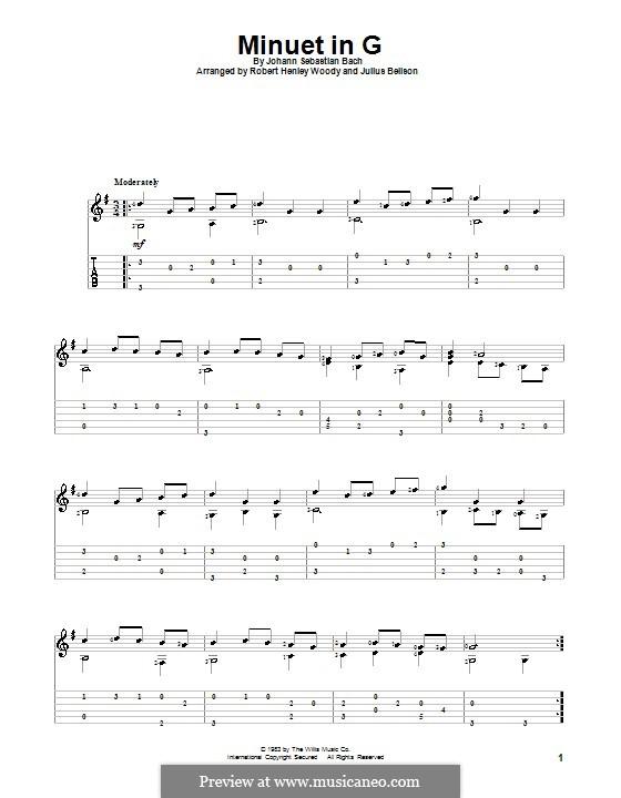 No.4 Менуэт соль мажор, BWV Anh.114: Для гитары с табулатурой by Иоганн Себастьян Бах