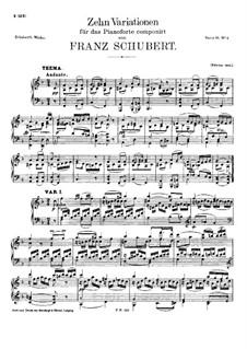 Десять вариаций для фортепиано фа мажор, D.156: Для одного исполнителя by Франц Шуберт