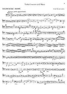Концерт для скрипки с оркестром ми минор, Op.64: Партия виолончелей и контрабаса by Феликс Мендельсон-Бартольди
