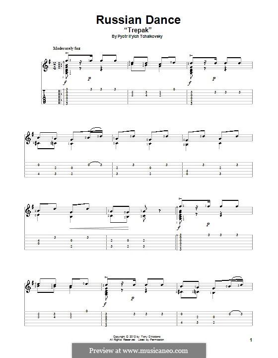 No.4 Русский танец (Трепак): Для гитары с табулатурой by Петр Чайковский