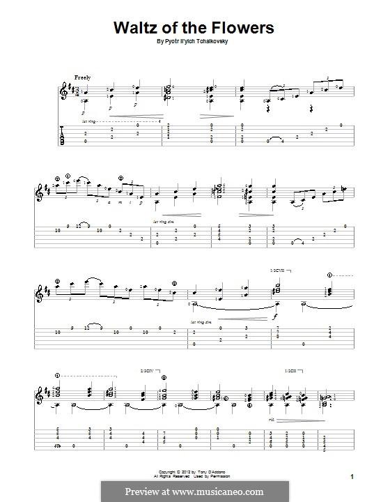 No.8 Вальс цветов: Для гитары с табулатурой by Петр Чайковский