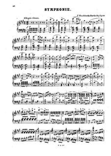 Симфония No.4 ля мажор 'Итальянская', Op.90: Для фортепиано by Феликс Мендельсон-Бартольди