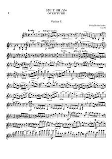 Рюи Блаз, Op.95: Скрипка I by Феликс Мендельсон-Бартольди