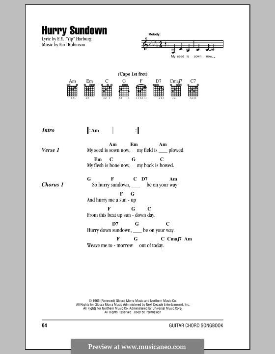 Hurry Sundown (Peter, Paul & Mary): Текст и аккорды by Earl Robinson