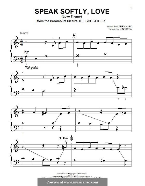 The Godfather (Love Theme): Для фортепиано by Нино Рота