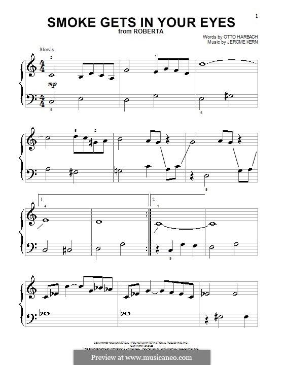 Smoke Gets in Your Eyes (from 'Roberta'): Для фортепиано by Джером Керн