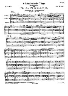 Шесть немецких танцев, K.606: Партитура by Вольфганг Амадей Моцарт
