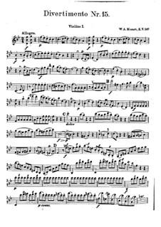 Дивертисмент No.15 си-бемоль мажор 'Lodron', K.287: Скрипка I by Вольфганг Амадей Моцарт