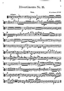 Дивертисмент No.15 си-бемоль мажор 'Lodron', K.287: Партия альта by Вольфганг Амадей Моцарт