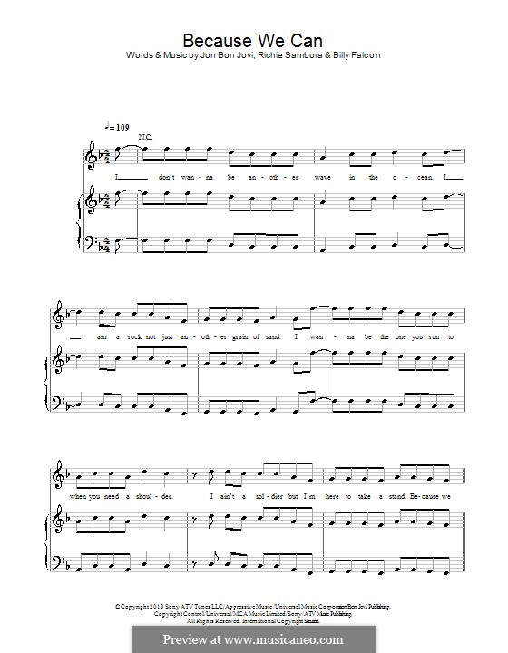 Because We Can (Bon Jovi): Для голоса и фортепиано (или гитары) by Billy Falcon, Jon Bon Jovi, Richie Sambora