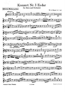 Концерт для валторны с оркестром No.3 ми-бемоль мажор, K.447: Сольная партия by Вольфганг Амадей Моцарт