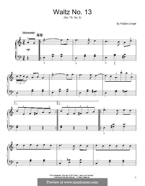 Вальсы, Op. posth.70: No.3 ре-бемоль мажор by Фредерик Шопен