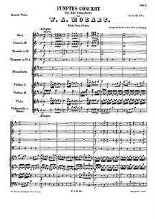 Концерт для фортепиано с оркестром No.5 ре мажор, K.175: Партитура by Вольфганг Амадей Моцарт