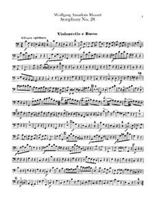 Симфония No.28 до мажор, K.200: Партия виолончели и контрабаса by Вольфганг Амадей Моцарт