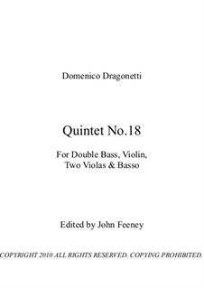 Quintet No.18 for Double Bass, Violin, Two Violas and Basso: Партитура by Доменико Драгонетти