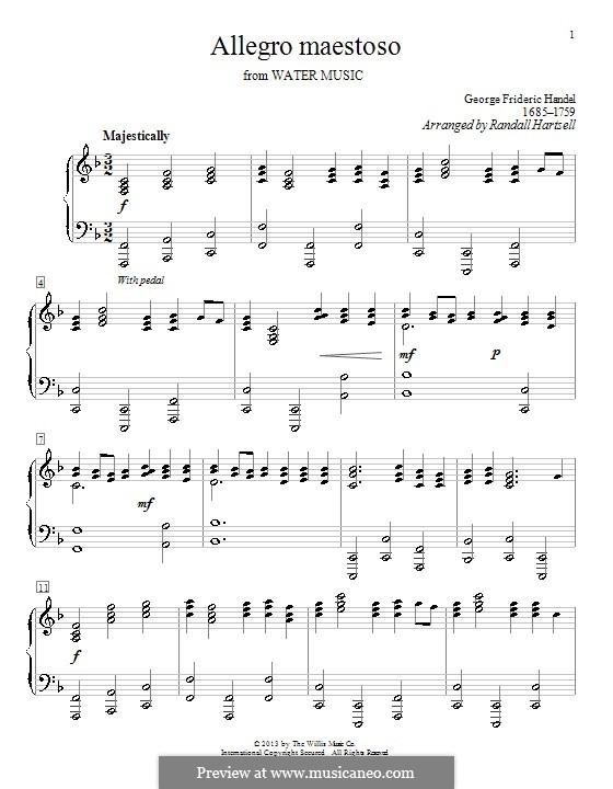 Сюита No.1 фа мажор, HWV 348: Allegro, for piano (F Major) by Георг Фридрих Гендель