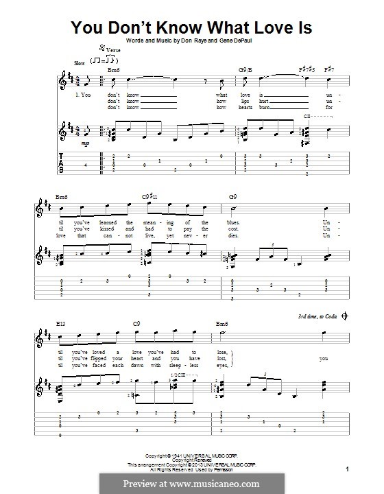 You Don't Know What Love Is: For voice and guitar (with tablature) by Don Raye, Gene de Paul