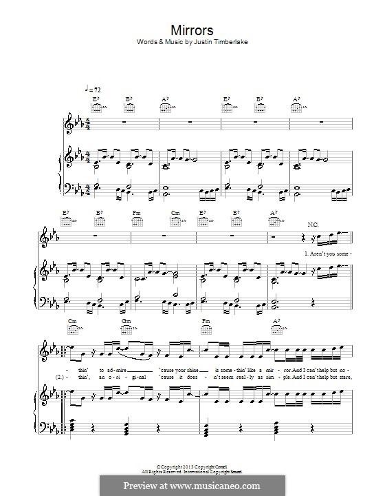 Mirrors: Для голоса и фортепиано (или гитары) by Garland Mosley, James Fauntleroy II, Jerome Harmon, Justin Timberlake, Timbaland, Chris Godbey