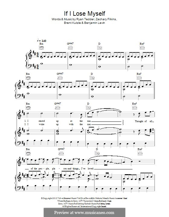 If I Lose Myself (One Republic): Для голоса и фортепиано (или гитары) by Benjamin Levin, Brent Kutzle, Ryan B Tedder, Zachary Filkins
