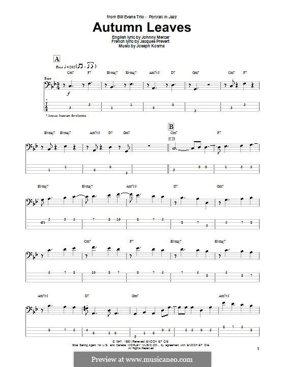 Autumn Leaves: Для бас-гитары с табулатурой by Joseph Kosma