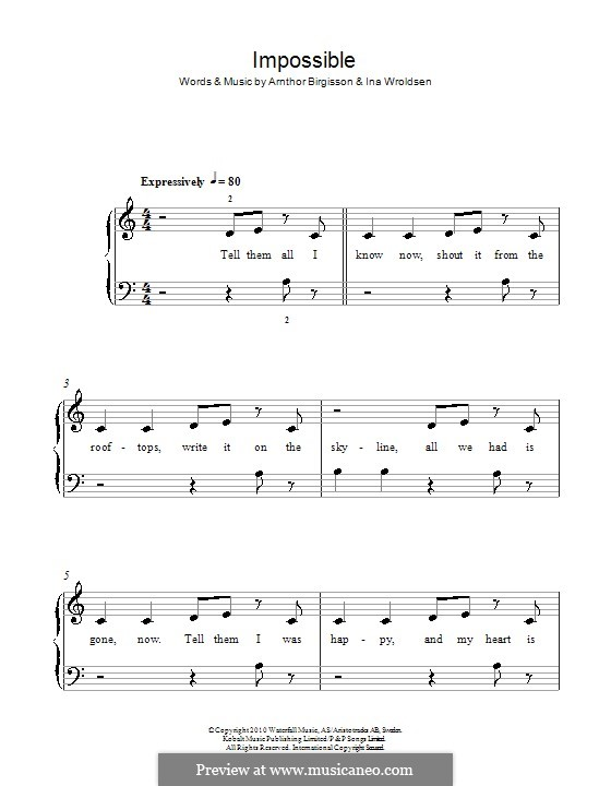 Impossible (Shontelle): Для фортепиано by Arnthor Birgisson, Ina Wroldsen
