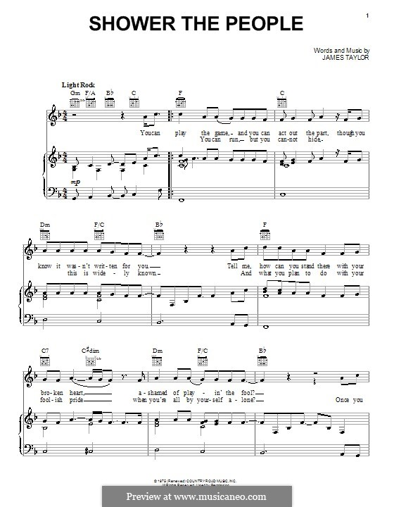 Shower the People: Для голоса и фортепиано (или гитары) by James Taylor
