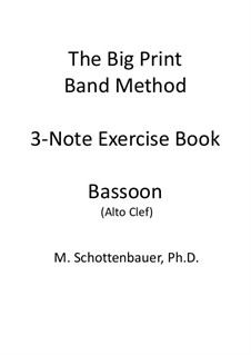 3-Note Exercise Book: Bassoon (alto clef) by Michele Schottenbauer