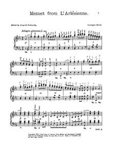 Сюита I: Менуэт, для фортепиано by Жорж Бизе