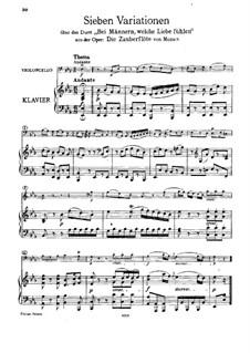 Семь вариаций на тему 'Bei Männern welche Liebe fühlen' Моцарта, WoO 46: Партитура, Партия солиста by Людвиг ван Бетховен