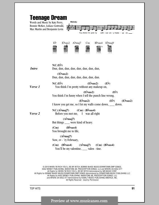 Teenage Dream: Для укулеле by Benjamin Levin, Bonnie McKee, Katy Perry, Lukas Gottwald, Max Martin