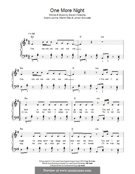 One More Night (Maroon 5): Для фортепиано by Shellback, Adam Levine, Max Martin