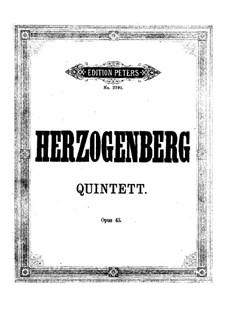 Квинтет для фортепиано и духовых, Op.43: Партитура by Генрих фон Герцогенберг