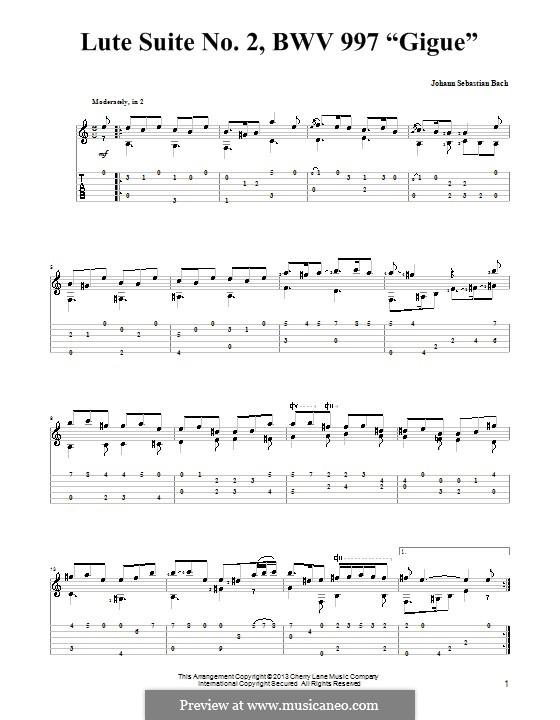 Сюита для лютни (или клавесина) до минор, BWV 997: Жига. Версия для гитары с табулатурой by Иоганн Себастьян Бах