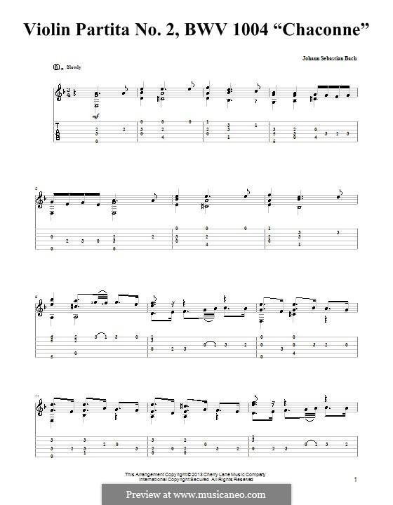 Партита для скрипки No.2 ре минор, BWV 1004: Чакона. Версия для гитары с табулатурой by Иоганн Себастьян Бах