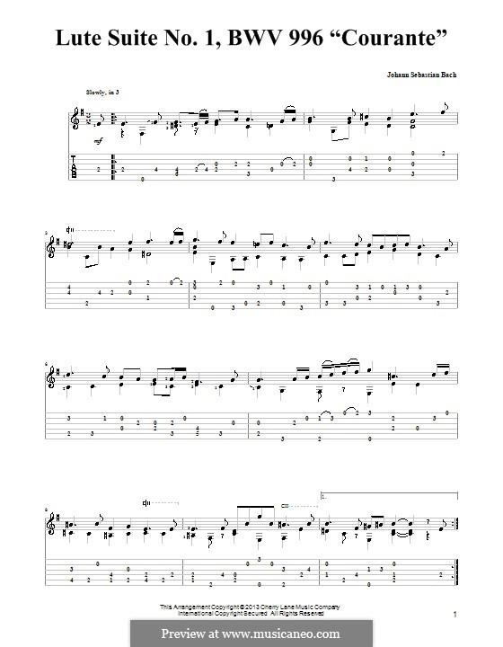 Сюита для лютни (или клавесина) ми минор, BWV 996: Куранта. Версия для гитары с табулатурой by Иоганн Себастьян Бах