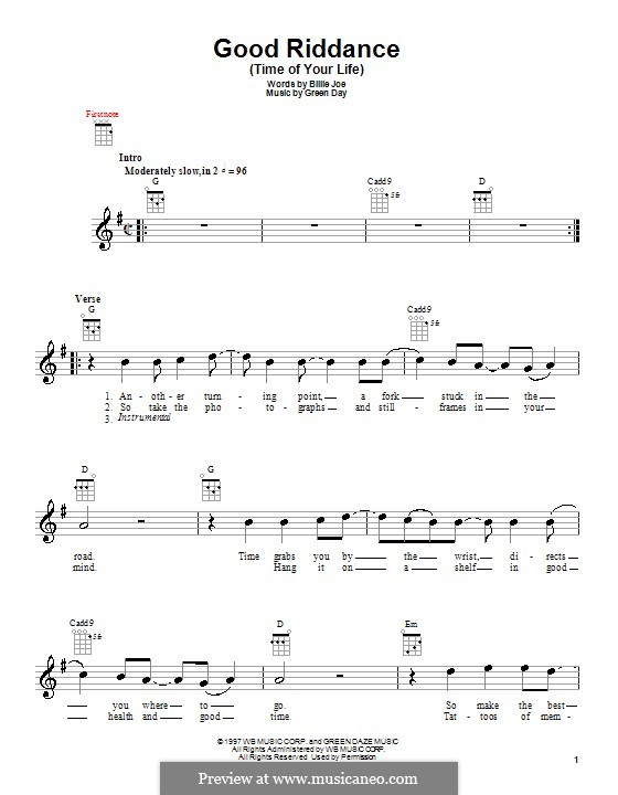 Good Riddance (Time of Your Life): Для укулеле by Billie Joe Armstrong, Tré Cool, Michael Pritchard
