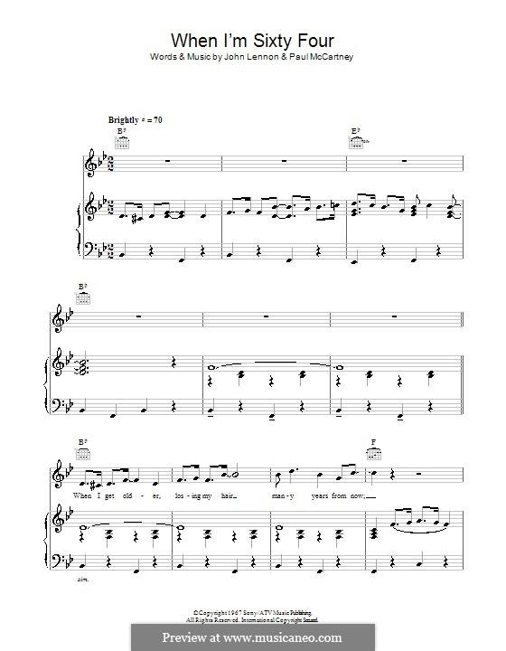 When I'm Sixty-Four (The Beatles): Для голоса и фортепиано (или гитары) by John Lennon, Paul McCartney