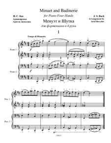 Менуэт и Шутка для фортепиано в четыре руки: Менуэт и Шутка для фортепиано в четыре руки by Иоганн Себастьян Бах