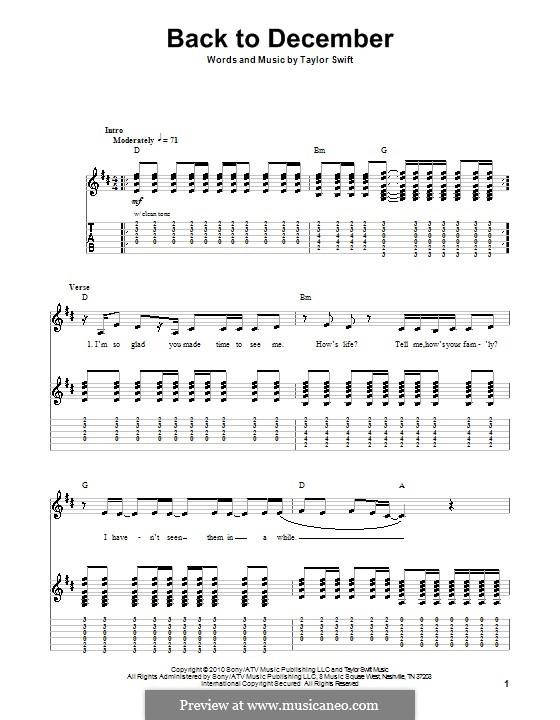 Back to December: Для гитары с табулатурой by Taylor Swift