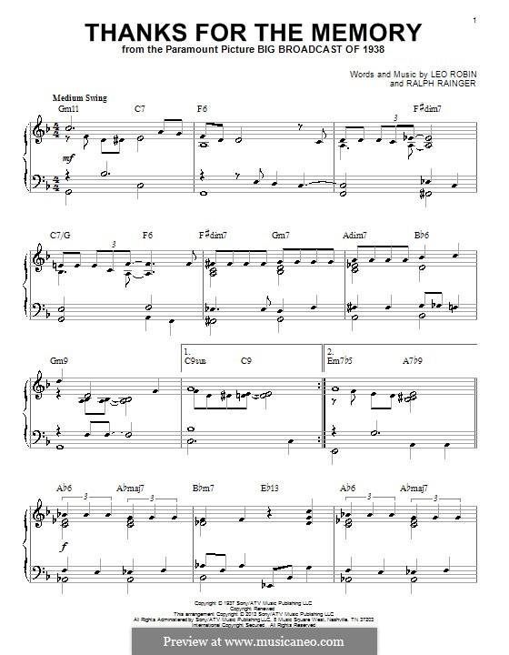 Thanks for the Memory: Для фортепиано by Ralph Rainger