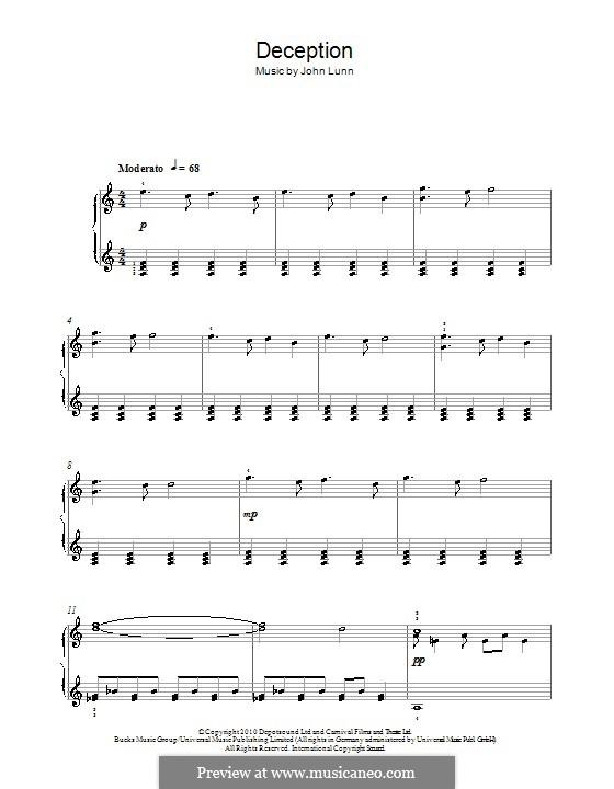 Deception: Для фортепиано by John Lunn
