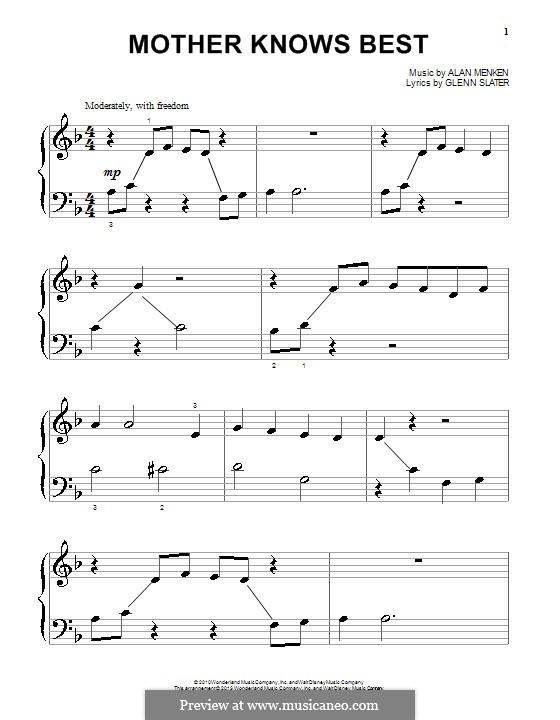 Mother Knows Best: Для фортепиано by Alan Menken